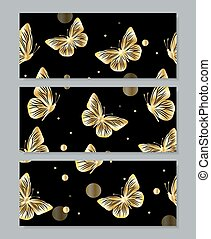 Set of three banners with gold butterflies