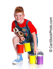 Handsome boy painter with tins of paint. Isolated on the...