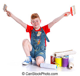 Handsome boy painter with tins of paint Isolated on the...