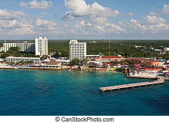 Colorful Condos and Bars on Coast of Cozumel