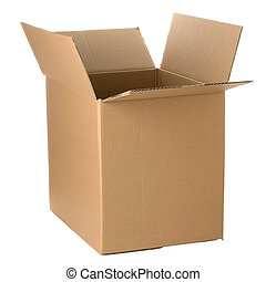 abierto, cartón, caja