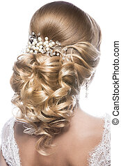 Beautiful woman in image of the bride. Beauty hair....