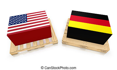 USA Germany transport boxes - Two palettes , one american...