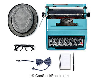 hat, typewriter, eyeglasses, bow tie, notebook and pen -...