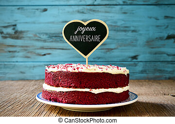 text joyeux anniversaire, happy birthday in french - a red...