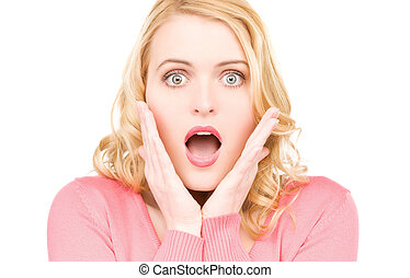 surprised woman face - bright picture of surprised woman...
