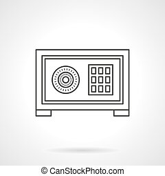 Home safe box flat line vector icon - Domestic safe box with...