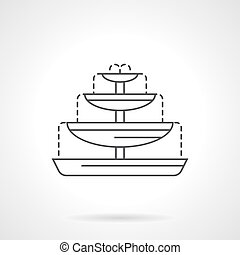 Fountain bowls flat line vector icon - Fountain with four...