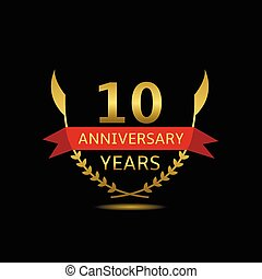 10 Anniversary years Golden laurel wreath with red ribbon