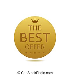 Best offer label Golden round sign with crown and stars