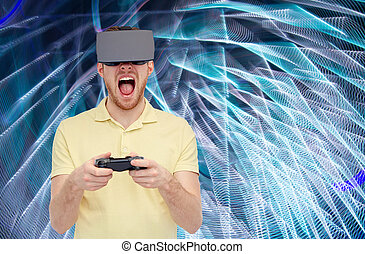 man in virtual reality headset or 3d glasses - 3d...