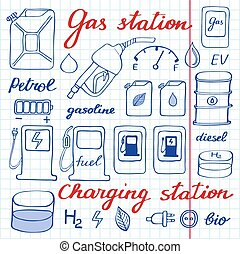 Gas station set. Hand-drawn cartoon collection of petrol icons - fuel, can, road sign, pump. Vector illustration