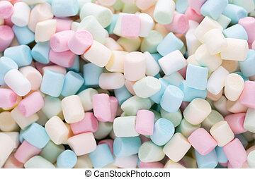 Background or texture of colorful mini marshmallows. -...