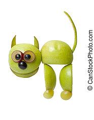 divertido, hecho, uva, manzana, gato, Plano de fondo, blanco