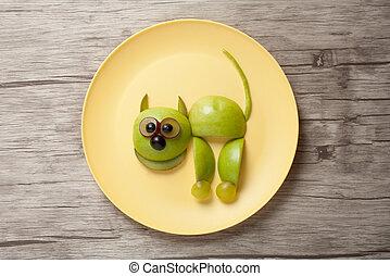placa, hecho, escritorio, amarillo, gato, frutas