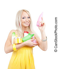 girl with toilletries - girl in yellow dress with colored...