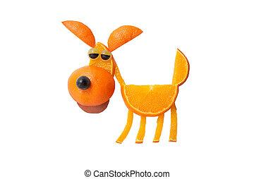 divertido, perro, hecho, de, naranja, en, aislado, Plano de...