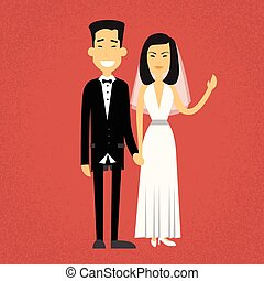 Asian Marriage Couple Fiance And Bride Wear Wedding Dress Holding Hands Flat Design Vector Illustration