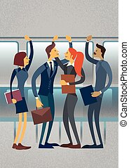 Business People Group In City Public Transport Flat Vector...