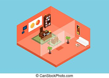 Modern Office Workplace Room Interior Top View 3d Isometric...