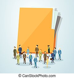 Business People Crowd Over Document Folder Copy Space