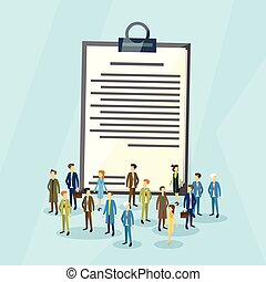 Business People Crowd Over Paper Document Flat