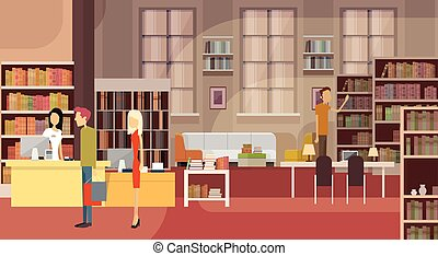 Book Shop Interior Bookstore Customers Sales Woman Cash Desk...