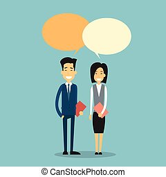 Asian Business Man Woman With Chat Bubble Communication Concept