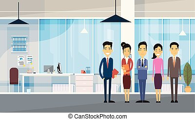 Asian Business People Group In Modern Office Flat Vector...