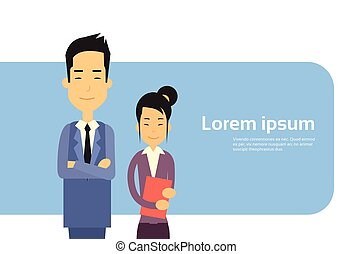Asian Couple Business Man Woman Banner With Copy Space