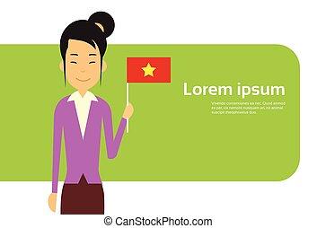 Asian Business Woman Hold Vietnam Flag Vietnamese...