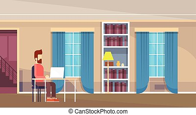 Casual Man Work On Laptop Computer Home Interior Flat Vector...