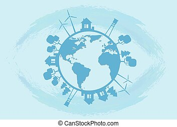 Blue Earth Globe Silhouette Wind Turbine Flat Vector...