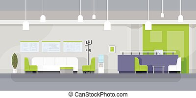 Modern Office Waiting Room Interior Flat Design Vector...