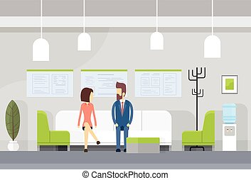 Business People On Sofa, Modern Office Waiting Room Interior...