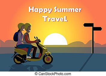 Couple Ride Electric Scooter Motorcycle, Man Woman Over Sunset Ocean Beach Happy Summer Travel Banner