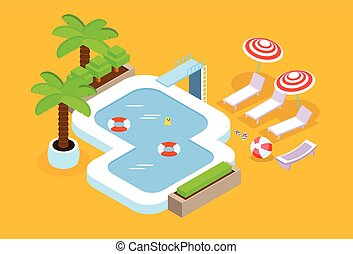 Swimming Pool Hotel Summer Vacation 3d Isometric Design...