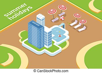 Hotel With Swimming Pool Summer Vacation 3d Isometric Design