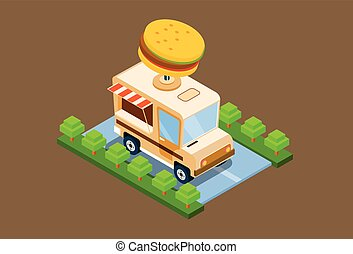 Fast Food Truck Delivery Cafe 3d Isometric Design Vector...