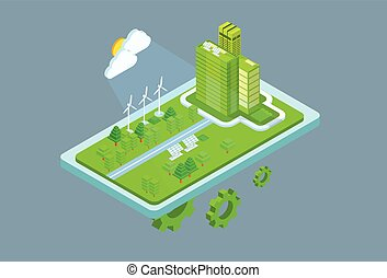 Green Station Solar Energy Panel Wind Turbine Tower Recycle Technology Battery 3d Isometric