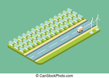 Truck Lorry On Road, Field With Solar Energy Panel Wind...