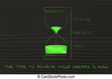 hourglass with past, present and future, the time to achieve...