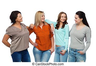 不同, 組, 衣服, 愉快, 暫存工, 婦女