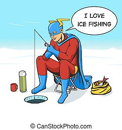 Superhero on ice fishing comic book vector - Superhero on...