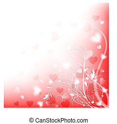 shiny love background - Abstract heart and floral shiny love...