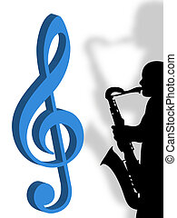Violin clef and saxophonist as symbol of music