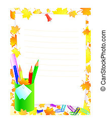 school supplies with frame for tour text against yellow and...