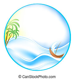 Summer theme with sea, boat and palms in round shape,eps10