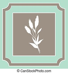 Vector vintage frame with flower inside.