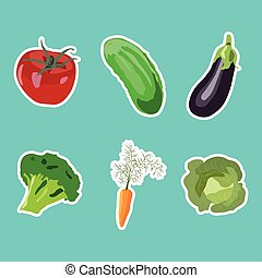 Set of vector vegetables stickers in flat style
